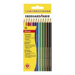 Színes ceruza 12 db-os, vékony-háromszög alakú, Eberhard Faber
