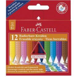 Zsírkréta 12db-os, radírozható, vékony-háromszög alakú, 5 éves kortól, Faber-Castell
