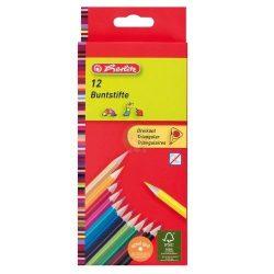Színes ceruza készlet, 12 darabos, vékony, háromszögletű-lakkozott ceruzatest, Herlitz