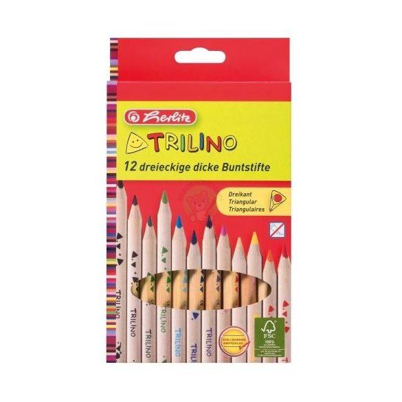 Színesceruza készlet 12db-os, vastag, háromszögletű natúr ceruzatest, Herlitz