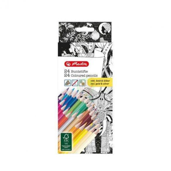 Színes ceruza készlet 24db-os, vékony, háromszögletű-lakkozott ceruzatest, Herlitz