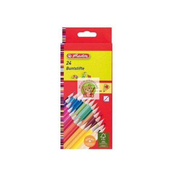 Színes ceruza készlet, 24 darabos, vékony, háromszögletű-lakkozott ceruzatest, Herlitz