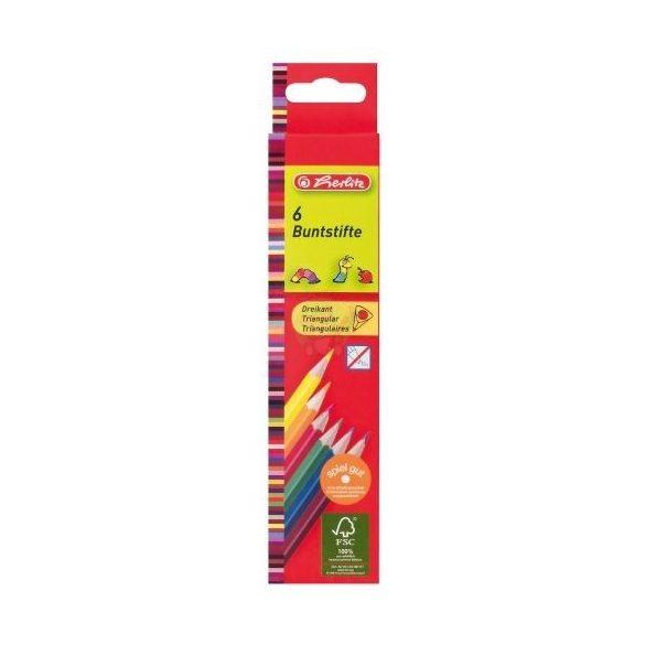 Színes ceruza készlet, 6 darabos, vékony, háromszögletű-lakkozott ceruzatest, Herlitz