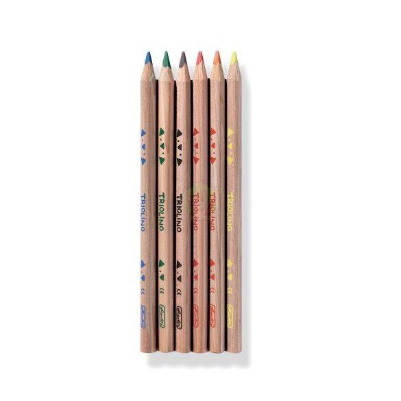 Színesceruza készlet 6db-os, vastag, háromszögletű natúr ceruzatest, Herlitz