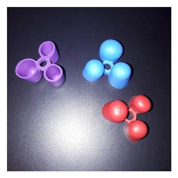Három ujjas ceruzafogó jobb-és balkezeseknek, 3-5 éves korig. Kék, piros, citromsárga, narancssárga, világoszöld és lila színben kapható.
