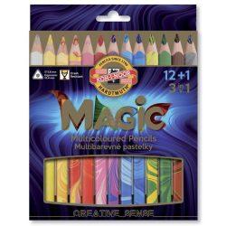 Színes ceruza készlet Magic, háromszögletű, vastag ceruzatest, 12+1db/készlet, KOH-I-NOOR