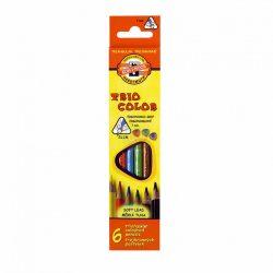 Színes ceruza készlet 6db-os, vékony, háromszögletű ceruzatest, KOH-I-NOOR