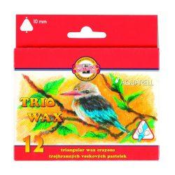 Zsírkréta készlet 12db-os, vastag, háromszögletű fogás, festhető, KOH-I-NOOR