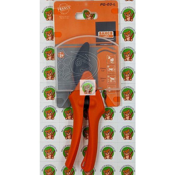 Metszőolló balkezesek számára, 19 cm-es, fekete acél vágóél, francia termék Bahco