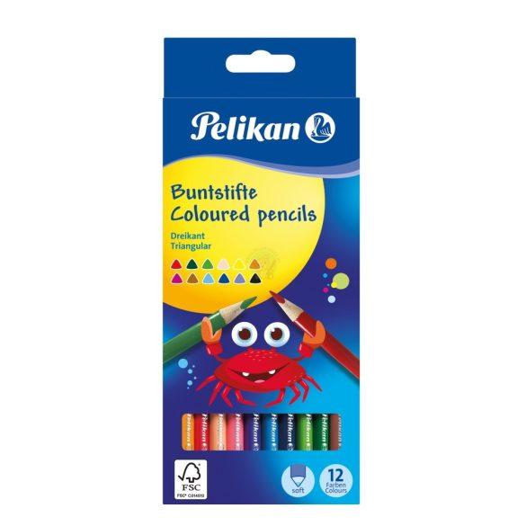 Színes ceruza készlet 12db-os, vékony, háromszögletű ceruzatest, Pelikán