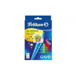 Színes ceruza készlet, 12 darabos, vastag-háromszögletű ceruzatest, Silverino Pelikán