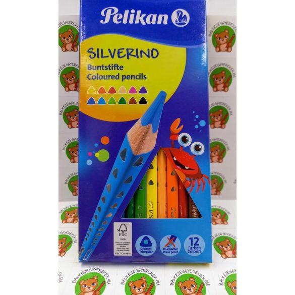 Színes ceruza készlet, 12 darabos, vékony-háromszögletű ceruzatest, Silveriono Pelikán