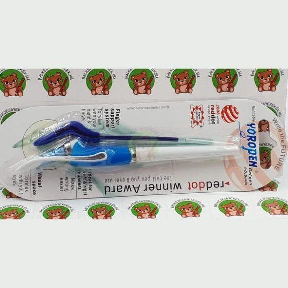 Yoropen EX vékony hegyű kék zselés toll, kívül fehér-kék színű +1 tollbetéttel jobb-és balkezeseknek
